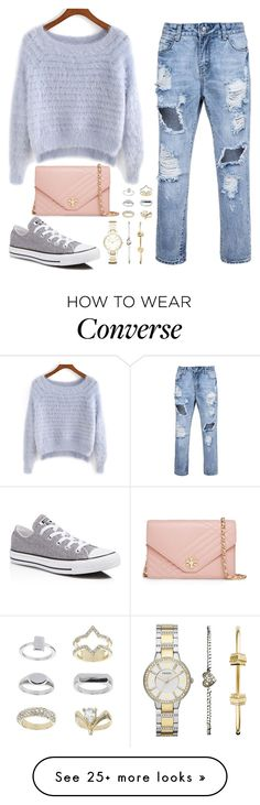 """Untitled #103"" by austeja-kriaucionyte on Polyvore featuring Converse, Tory Burch, FOSSIL and Topshop"