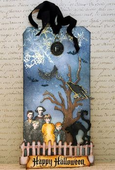 "Stormy Sky and Chipped Sapphire Distress Inks for sky.  Rusty Hinge and Gathered Twig for ""Happy Halloween"" sign.  <3"