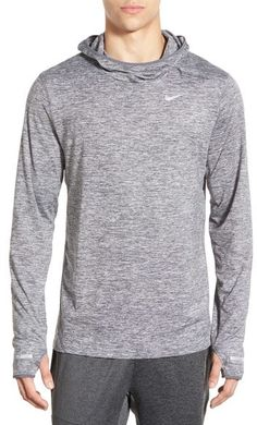 """A heathered hoodie in Nike's signature, sweat-wicking Dri-FIT fabric comes equipped with a cowled neckline, thumbhole cuffs and a reflective swoosh at the chest for nighttime safety. 28 1/2"""" length (size Medium). Cowl neck with attached hood. Long sleeves with thumbhole cuffs. 88% polyester, 12% spandex. Machine wash warm, tumble dry low. By Nike"""
