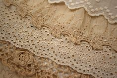 Vintage Lace- My Great Aunt Mary tatted lace and my Grandmother sewed it on a few dresses and a coat for me.