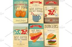 Fast Food and Coffee Posters Set by elfivetrov on @creativemarket