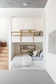 Bunk Bed Rooms, Bunk Beds Built In, Bedrooms, Modern Bunk Beds, Kids Bunk Beds, Minimaliste Tiny House, Kids Bedroom, Bedroom Decor, Basement Studio
