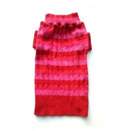 Medium Striped Cable Knit Designer Dog Sweater
