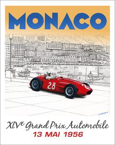 """I decided to play around with my painting to create a """"Faux"""" 1956 Grand Prix de Monaco 30""""x 38"""" poster. © Paul Chenard 2014"""