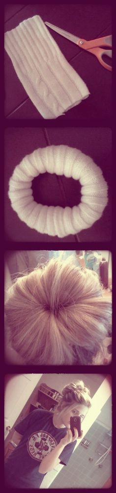 Messy Sock (sweater sleeve) Bun for long hair :)