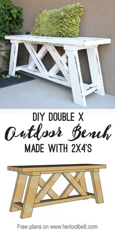 Build a cute little DIY outdoor bench for your porch or entry. Build a cute little DIY outdoor bench for your porch or . Diy Wood Projects, Wood Crafts, Diy Furniture Projects, Garden Furniture, Furniture Market, Diy Home Decor Projects, Recycled Furniture, Diy Crafts Kitchen, Diy Backyard Projects
