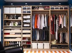 IKEA PAX-customisable wardrobe. Pick your internal pieces, pick your doors (I chose sliding for space saving) and pick the outside wood colour. A wardrobe to suit your wallet and needs