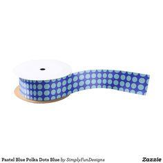 Pastel Blue Polka Dots Blue Satin Ribbon