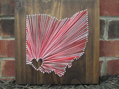 String Art State, Any State, University of Cincinnati, Home is Where the Heart Is, Nail and String Art, 2 Colors on Etsy, $55.00
