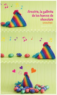 #Crochet: Arcoíris, la gallina de Pascua! (Stop motion video tutorial con diagramas :)  #easter #Pascua #hen