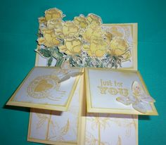 one dozen yellow roses box card, gold embossed and water colour pencils. Box stamped with chrome yellow  Archival ink. All images Kaszazz