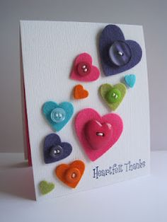 heart felt thank you card - cute for Valentine's day too Love Cards, Diy Cards, Envelopes Decorados, Valentine Day Cards, Valentines, Tarjetas Diy, Button Cards, Handmade Greetings, Heart Cards