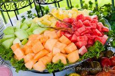 Fresh Fruit is always a crowd pleaser. #watermelon #pineapple #cantaloupe #melon #fruit #fruitdisplay #freshfruit #bayshoregrove #weddingfood #horsdoeuvres