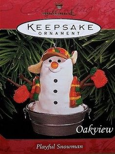 "Hallmark 1999 Ornament Playful Snowman QX6867Size Measures 2 3/4"" high. Condition Ornament is in excellent condition. Box is in excellent condition with shelf wear. Original plastic packaging. Price t"