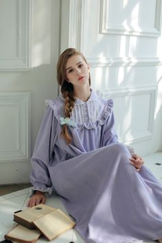 Winter long nightgown Vintage court style bedwear Just look, that`s outstanding! Get it here