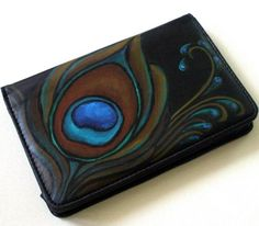 Peacock Feather Painted Wallet