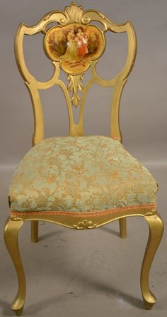 French Louis XVII Style Giltwood Parlor Chair with Hand Painted Scene. C.1900. : Lot 201B