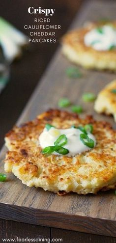 These gluten free cauliflower cheddar pancakes are a delicious appetizer or vegetarian meal. Riced cauliflower makes these so easy to make. Top with sour cream. via Fearless Dining - Gluten Free Recipes Rice Recipes, Veggie Recipes, Gluten Free Recipes, Real Food Recipes, Keto Recipes, Vegetarian Recipes, Cooking Recipes, Healthy Recipes, Applebees Recipes
