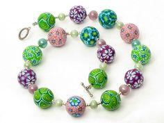 * April * Kette necklace, beads, fimo, klei, Polymer Clay Perlen Desi... von filigran-Design   auf DaWanda.com