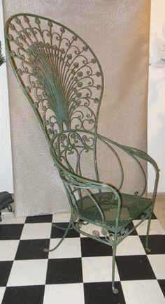 Salterini Rare Peacock Chair, wrought iron