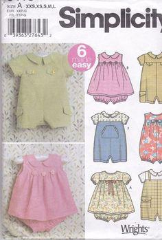 Simplicity Sewing Pattern 5115 Size A XXS XS S M L Romper Dress Wrights Uncut #Simplicity