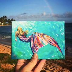 Mermaid Canvas, Mermaid Artwork, Mermaid Paintings, Mermaid Mermaid, Underwater Painting, Ocean Art, Gouache, Painting Inspiration, Babe