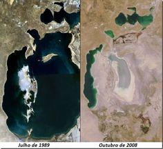 O Mar de Aral é testemunho de uma grande catástrofe ambiental, em menos de trinta anos perdeu tamanho de forma considerável causado pela ação antrópica, mais especificamente pelo desvio de parte de suas águas que foram destinadas à irrigação.