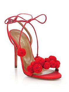 Aquazzura Leather Pom-Pom Sandals