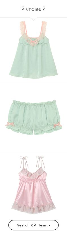 """""""✿ undies ✿"""" by leahthefoot ❤ liked on Polyvore featuring cute, pastel, lingerie, kawaii, pastels, intimates, tops, underwear, pajamas and sleepwear"""