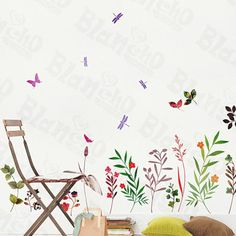 Palms & Flowers - Large Wall Decals Stickers Appliques Home Deco