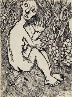 Louis Soutter (1871-1942), Vaine alerte, Été, 1935, Tinte auf Papier,  34 x 25,5 cm