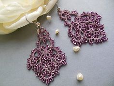 Grey pink tatting earrings filigree lace by KidichiAndMama on Etsy
