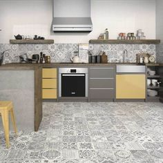 We've always partial to a pattern! Our new Manises grey and white tiles are perfect for walls, floors, or both! Want a more subtle look? Mix in some white or grey metro tiles 🖤 Tap to shop ⬆️ . Large Floor Tiles, Tile Floor Diy, Grey Floor Tiles, Grey Flooring, Floors, Patterned Wall Tiles, White Wall Tiles, Modern Large Kitchens, Grey Kitchens