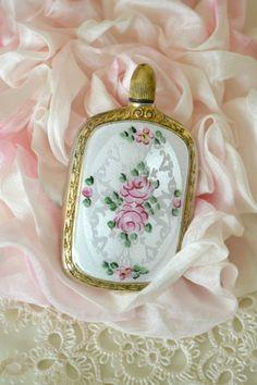 Stunning French Enamel Guilloche Perfume Bottle
