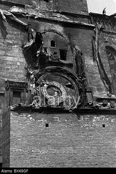 Prague, May 1945, destroyed astronomical clock