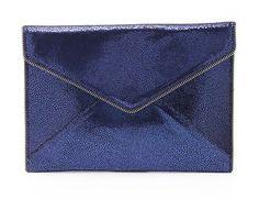 Shimmer blue envelope clutch