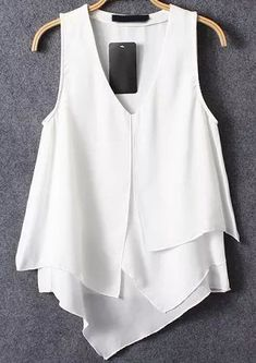 To find out about the White V Neck Asymmetrical Ruffle Chiffon Cami Top at SHEIN, part of our latest Tank Tops & Camis ready to shop online today! Chiffon Cami Tops, Chiffon Ruffle, Belted Shirt Dress, Tee Dress, White V Necks, Shirt Blouses, Dresses With Sleeves, Clothes, Street Fashion