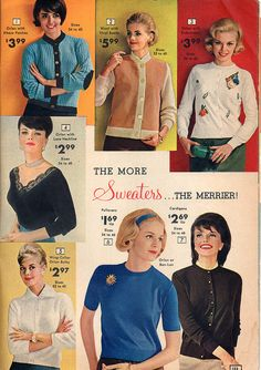 Stylish - and very well priced - sweaters from the National Bellas Hess catalog, 1963.
