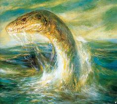 Fantasy - Surrealism - Other Art Dinosaur Drawing, Dinosaur Art, Sea Serpent, Loch Ness Monster, Prehistoric Creatures, Sea Monsters, All Art, Surrealism, Illustration