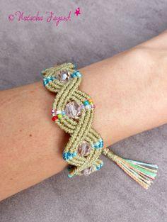 Boho bohemian chic macrame bracelet linen polyester pastel rose czech facets french jewelry designer made in France OOAK