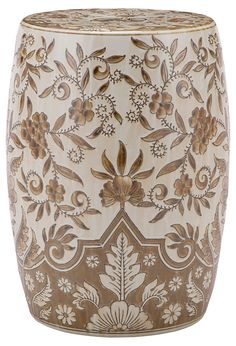Tristan Garden Stool, Light Brown/White | Ready Your Rooms for the Season | One Kings Lane