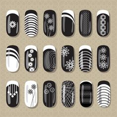 Nail art design black and white. ideas for manicure, pedicure, beauty salons . Black And White Nail Designs, Black White Nails, Love Nails, Pretty Nails, Manicure And Pedicure, Gel Nails, Beauty Salon Design, Beauty Salons, Mandala Nails