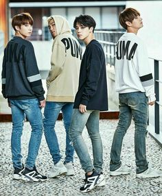Jungkook, RM aka Namjoon, Jimin and V Taehyung
