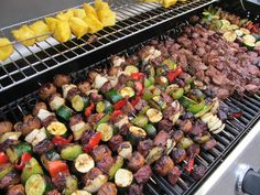 Recipe: Steak, veggie, and pineapple kabobs on the grill with delicious sweet marinade. Kabob Recipes, Grilling Recipes, Beef Recipes, Cooking Recipes, Healthy Recipes, Group Recipes, Grilling Ideas, Grilled Fruit, Grilled Steak Recipes