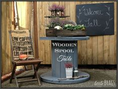 Use a Wooden Spool as a Patio Table
