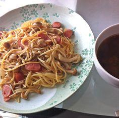 2013.3.12 きのこスパと中華風味噌スープ