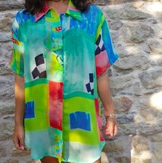 668b71317e8a Vintage Italian Art Deco Shirt in Green Blue Pink White and Black.  combining unusual colours and different proportions. Available to buy on ...