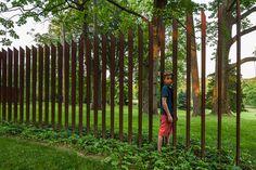 Cor-Ten Cattails Sculptural Fence modern landscape