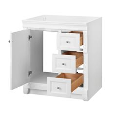30 Inch Bathroom Vanity Cabinet In Solid Wood Shaker White With Pleasing 30 Bathroom Vanity With Drawers Inspiration