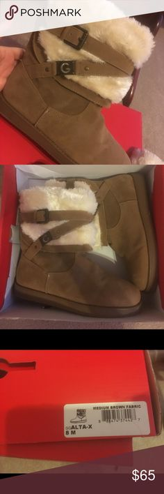 Guess boots Tan colored boots with fur- NEVER WORN- comes with box G by Guess Shoes Winter & Rain Boots